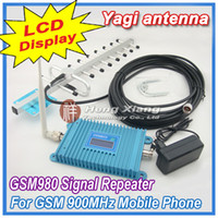 GMS 900MHZ cell phone signal booster - LCD Display GSM Mhz Mobile Phone GSM980 Signal Booster Cell Phone GSM Signal Repeater Amplifier dBi units Yagi Antenna Cable