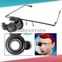 Wholesale X Glasses Type Magnifier Magnifying Lens Eye Gauge with LED Light for Handicraft Watch Repair