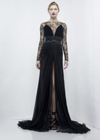 Wholesale Sexy Black Evening Dresses Zuhair Murad Vintage Long SLeeves Sheet See through Bateau Neckline Front Slit Women Formal Prom Party Gowns New