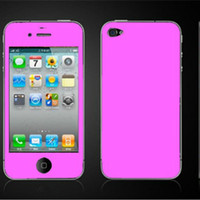 Wholesale candy Color Full Body Leather Skin Sticker Screen Protector Film For iPhone G