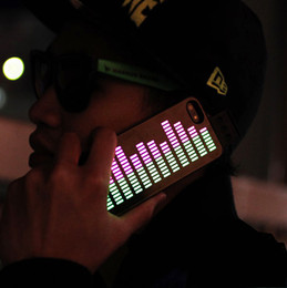 Wholesale Sound Activated EL Music Light up Apple iPhone S Case LED Gadget Black Color Equalizer Hard Protective Cover Lighting Neon Glow In Dark