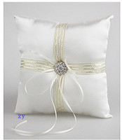 Wholesale 2015 New Style Satin Wedding Ring Pillow With Ribbons And Rhinestone
