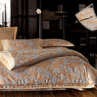 Wholesale Cotton Exquisite Jacquard Weave Four piece Lace Bedding Set Gold Bed Sheet Cover Pillowcases DPP_2014