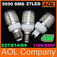 Дешевые кукурузы лампочка 5050 SMD 27 LED светодиодные 4W крышка E27 G9 E14 GU10 360 градусов высокой мощности Главная лампа 110V-220V Бесплатная доставка по продажам
