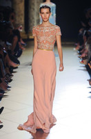 Reference Images Jewel/Bateau Chiffon Bateau Sexy Evening Dresses Elie Saab Vintage Short Sleeves Shiny Beaded Sequins Coral Gold Sash Chiffon Formal Pageant Prom Gowns Luxury