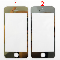 For Apple iPhone Touch Screen  For iPhone 5 5G 5th Front Glass Lens Screen Digitizer Touch Panel Screen Cover Replacement For iPhone5 Gold Silver A Stock Plated Metal