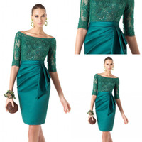 Wholesale Sexy off the shoulder lace bodice satin half sleeves green cocktail dress with sash ribbon