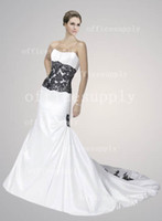 Wholesale Strapless White Black Lace A Line Taffeta Wedding Dresses gown with Zipper Up back MG156