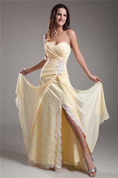 Sexy Sweetheart Sleeveless Light Yellow Chiffon over Lace Floor Length Formal Party Evening Gown Prom Dresses Free ShippingSweetheart