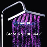 Wholesale New LED Light Square Rain Shower Head Bathroom Bath Glow Colors B1