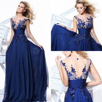 Wholesale Inspired By zuhair murad Navy Blue Chiffon Sheath Long Backless Evening Dresses with Floral Lace Sheer Neckline evening gowns TE