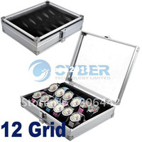 aluminium grid - New Popular Grid Watches Display Storage Box Case Jewelry Aluminium Square