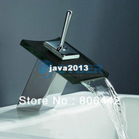 Wholesale Retail Bathroom Vanity Sink Kitchen Square Waterfall Glass Faucet Mixer Tap