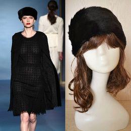 Wholesale LUXURY FAUX FUR HeadBand HEAD BANDS Hats Fashion Apparel Cap Hat mixed color