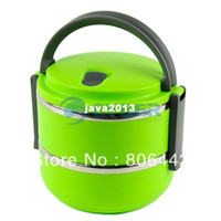 Wholesale Double Layer Stainless Steel Children Lunch Box L Keep Warm Food Container For Kids Green