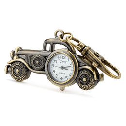 Bronze Antique Car Quartz Pocket Key Chain Ring Watch Pendant Keychain Ring DBS Keyring Analog Classic Automotive Automobile Shape Pendant