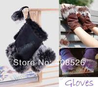 Wholesale New Women s Rabbit Fur Hand Wrist Fingerless Gloves Warm Winter