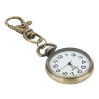 Wholesale Retro Vintage Bronze Keychain Pocket Watch Sport Key Ring Round Pendant Quartz Watches Analog Pendant Lobster Clip Round Ball Antique Alloy