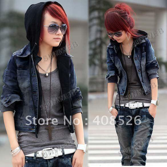 Women Denim Jacket Attached Black Sweatshirt Hoodie In One Jean ...