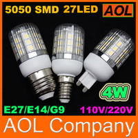 Высокое качество 4W 27 LED 5050 SMD 400LM LED Кукуруза лампы E27 G9 E14 GU10 белый, теплый белый 110-220V LED лампочка мозоли Светодиодные энергосберегающие Света