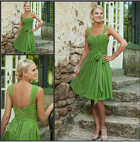Ruffle Sleeveless Spaghetti Straps Custom Made 2013 Free Shipping 80% off Simple Short Bridesmaid Dresses Sweetheart Lime Green Chiffon Prom Dresses