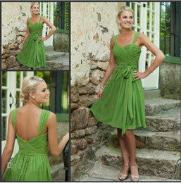 Wholesale Custom Made off Simple Short Bridesmaid Dresses Sweetheart Lime Green Chiffon Prom Dresses