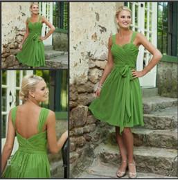 Wholesale Custom Made off Simple Short Bridesmaid Dresses Sweetheart Lime Green Chiffon Prom Dresses