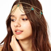 Wholesale Newest Gold Tone Crown Turquoise Stone Chain Hairband Head Band Headband Hair Piece Party