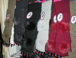 NEW ARRIVAL winter solid Faux fur Knitted Fingerless long Gloves Arm Warmers 24pairs lot mixed colors #3420