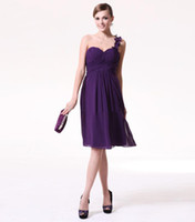 Ruffle Sleeveless One-Shoulder Short A-line Purple One-shoulder Sweetheart Ruched Knee-length Chiffon Bridesmaid Dresses