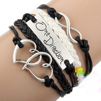 Wholesale fashion handmade black I love One Direction D infinity charm bracelets and bangles jewelry gift items for women and men colors hy1018