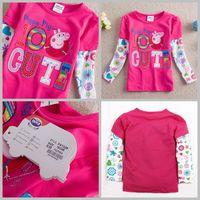 Girl Summer Standard 2014 autumn girls tops nova Peppa pig kid clothes baby long sleeve autumn wear cartoon tees girls red flower cute t shirts for 1-6T,5pc lot