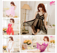 Wholesale 2014 new New Strip Sexy Pajamas Women Silk Lace Embroidered Black Princess Nightgowns Lingerie