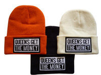 Wholesale QUEENS GET THE MONEY Beanies Pom Beanies Stripe Hats Woolen Close Fitting Caps Warm Keeper With JACQUARD KNIT PATTERN Grey