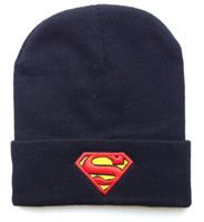 Embroidered batman winter hat - Superman beanie winter knitted hats black blue batman cartoon hats mix order