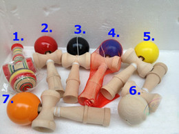 Hot sale 120pcs Big size 19*6cm Kendama Ball Japanese Traditional Wood Game Toy Education Gift 7 colors Wholesale & Free shipping