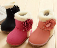 Winter baby girl flower shoes - 30New yards girls baby cotton shoes Winter boots infant Snow boots Flowers cotton boots pairs ZL