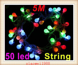 EU Plug 220V RGB LED String 50 LED 5M Colorful Christmas Light  Decoration String Lights with DC Joint Free Shipping