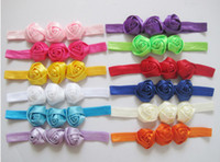 Wholesale Baby Triple Rose Flowers Headbands Rosette Girl Hair Accessories Satin Ribbon Headwear Soft Stretchy Satin Elastic Hair Bands Color