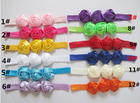 Wholesale Baby Triple Rose Flowers Headbands Rosette Baby Hair Accessories Satin Ribbon Headwear Soft Stretchy Satin Elastic Hair Bands Color