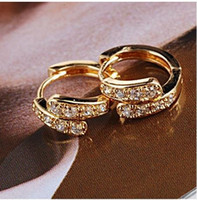 Wholesale fashion jewelry k yellow gold filled attractive zircon earrings k hoop stud earrings k earrings gold earrings