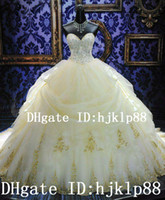 Wholesale 2014 New Arrival Luxury Royal Puffy White Sweetheart Lace up Cathedral Train Lace Bridal Wedding Dresses Crystal and Embroidery Ball Gown