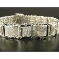 Wholesale K NEW MENS WHITE GOLD PAVE BRACELET CT CHAINS