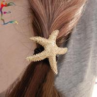 Wholesale Fashion gold sea star headband stelleroid starfish pony tails holder hair rope charm jewelry