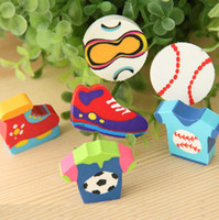 Wholesale 32 mm Creative Sports Meeting Series MINI Erasers Football Sneakers T shirt Correction Erasers Kids Gift set SH193