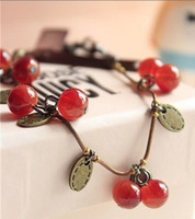 Wholesale Hot New Pomegranate retro sweet little cherry long necklace qjq95