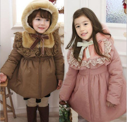 Wholesale Christmas baby girl down coat Fashion Cotton padded clothes princess winter warm clothes Children s coat with cap erbaby