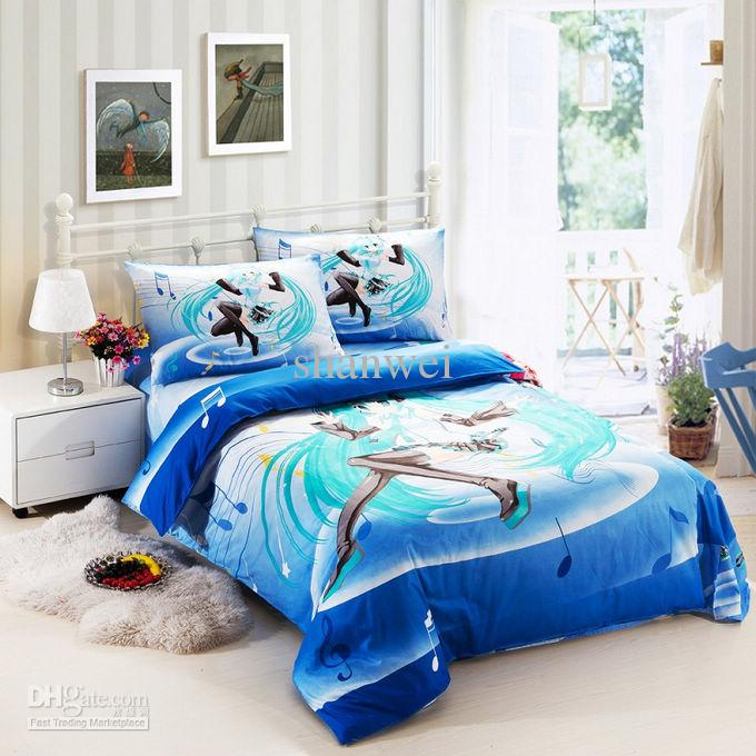 Hatsune Miku Japan Anime Girls Kid Duvet Cover Sheet Pillow Case ...