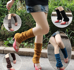 Wholesale Autumn winter Koreal style Knitted Leg Warmers Stocking Socks Boot Covers Leggings Tight pairs mixed colors