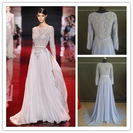 Wholesale 2014 New arrival New York Fashion Week Elie Saab Glamorous Sexy beaded crystal Evening Gowns Prom Dresses with long sleeve